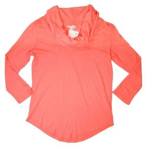 Gap Long Sleeve Neon Coral Cowl Neck Tee XS Cotton